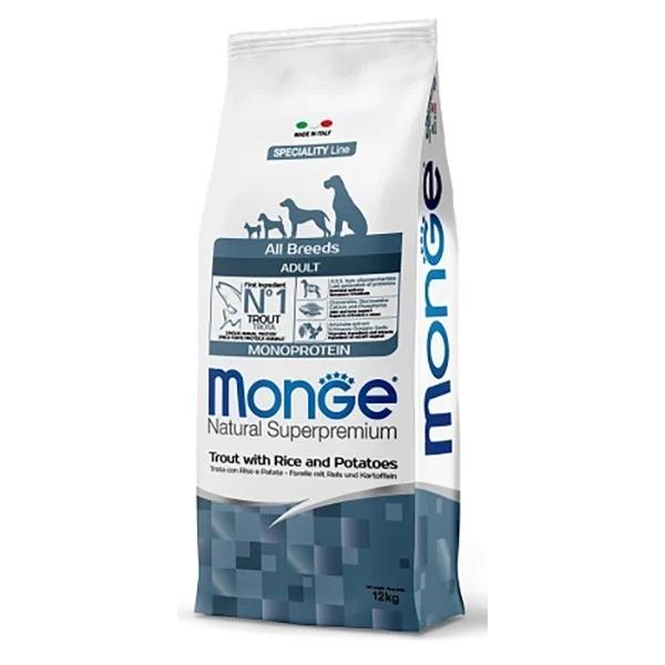 Сухой корм для собак Monoprotein форель с рисом и картофелем 12 кг