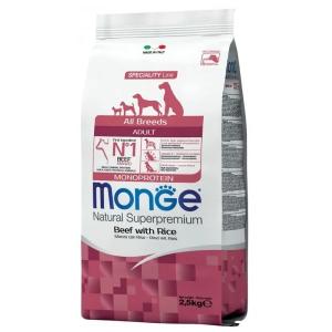 Сухой корм для собак Monge Speciality line Monoprotein с говядиной и рисом 2.5 кг