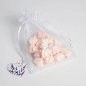 Мешочек подарочный органза белый «Лаванда», с шильдиком, 16 х 24 см