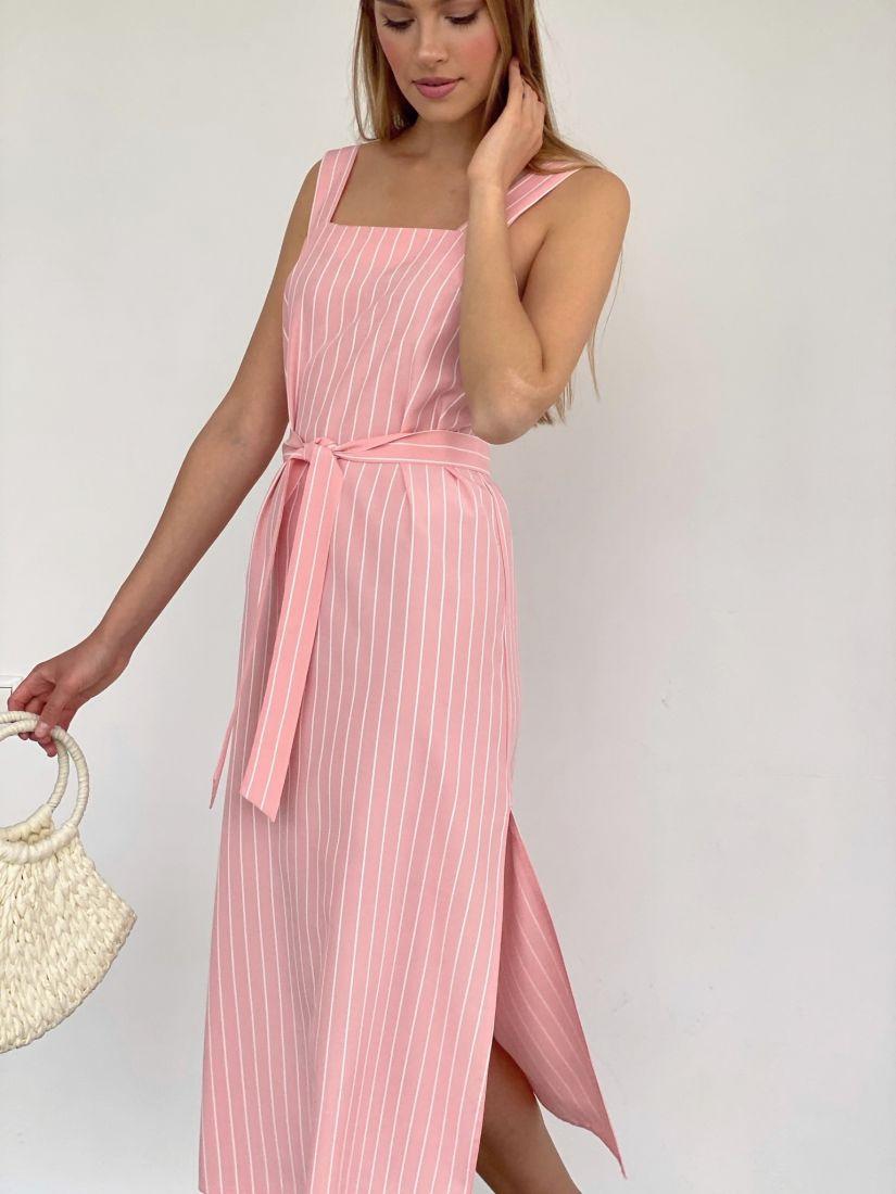 4116 Сарафан в тёплом розовом цвете в тонкую белую полоску