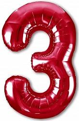 Шар (40''/102 см) Цифра, 3 Slim, Красный, 1 шт. в упак.