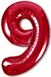 Шар (40''/102 см) Цифра, 9 Slim, Красный, 1 шт. в упак.