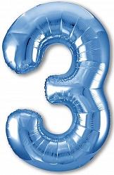 Шар (40''/102 см) Цифра, 3 Slim, Синий, 1 шт. в упак.