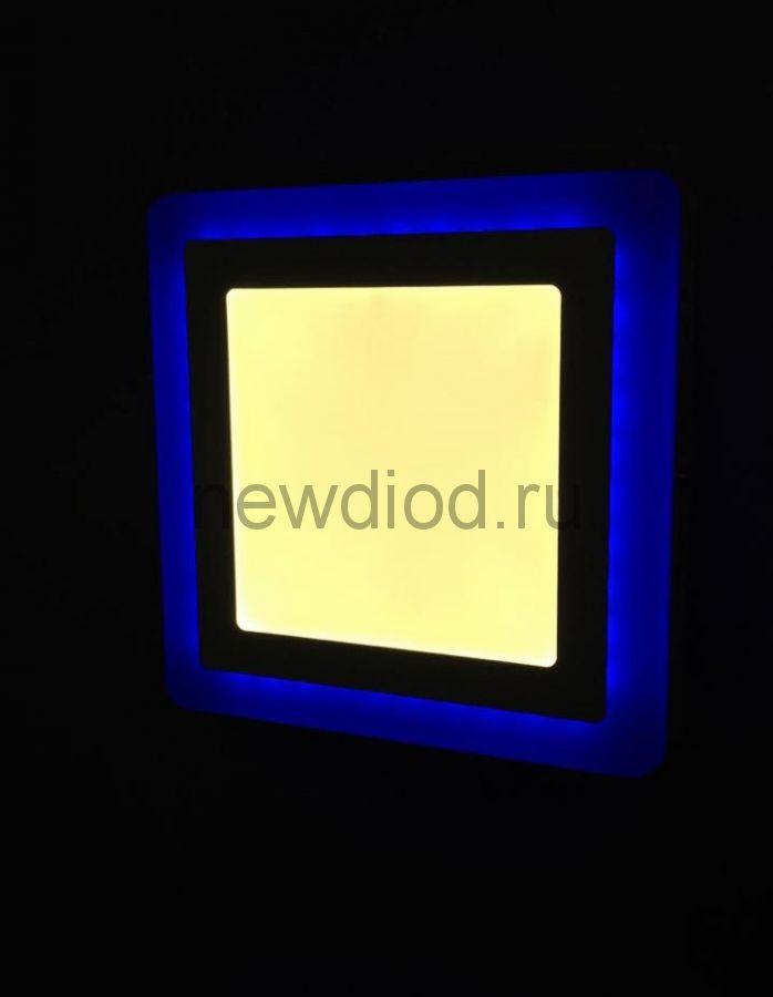 Светильник накладной Sirius 3W+3W-2м² 75/105mm синий КВАДРАТ Oreol (100/кор)