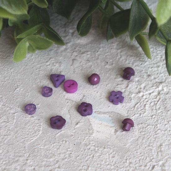 Набор мини пуговиц для творчества - микс форм - фиолетовые, 10 шт., 5 мм.