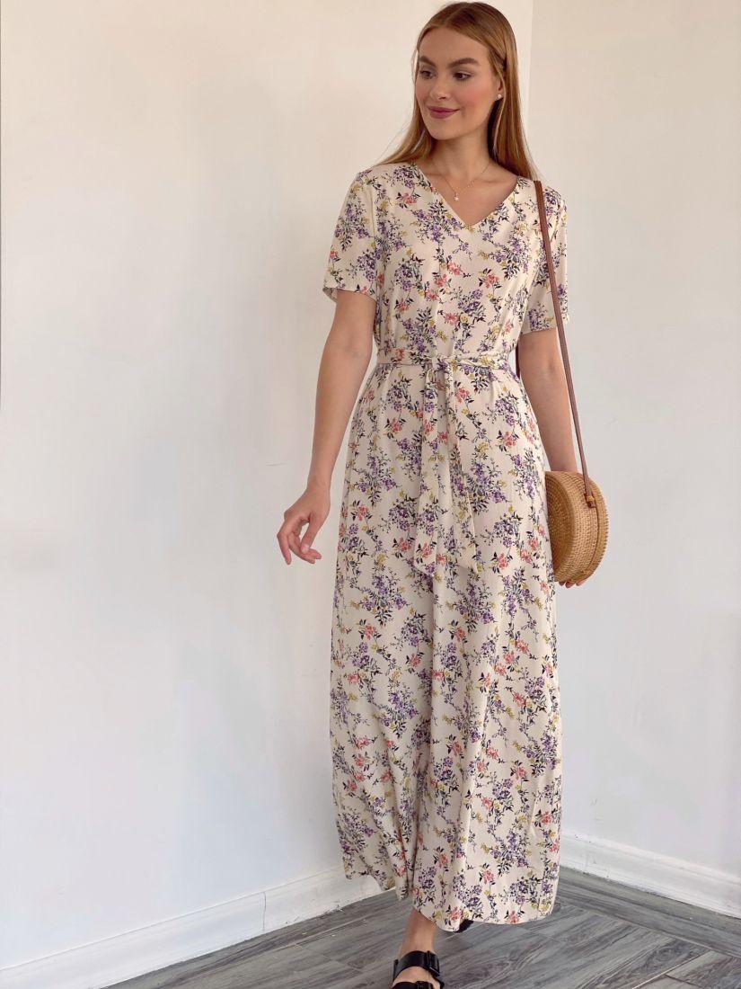 4138 Платье-трапеция в длине 7/8 бежевое