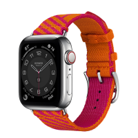 Часы Apple Watch Hermès Series 6 GPS + Cellular 40mm Silver Stainless Steel Case with Orange/Rose Mexico Jumping Single Tour