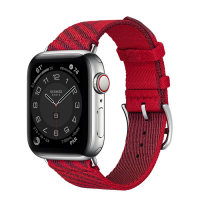 Часы Apple Watch Hermès Series 6 GPS + Cellular 40mm Silver Stainless Steel Case with Rouge de Cœur/Rouge H Jumping Single Tour