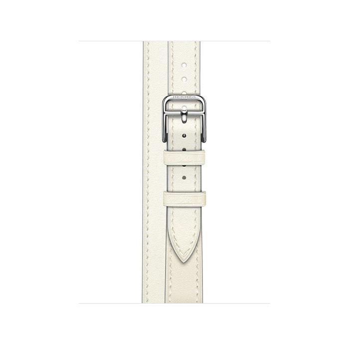 Ремешок Apple Watch Hermès Blanc Swift Leather Attelage Double Tour из кожи (для корпуса 40 мм)