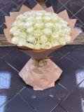 Букет из 51 розы белой Мондиаль в упаковке
