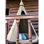Подвесной гамак-кокон для дачи оливковый