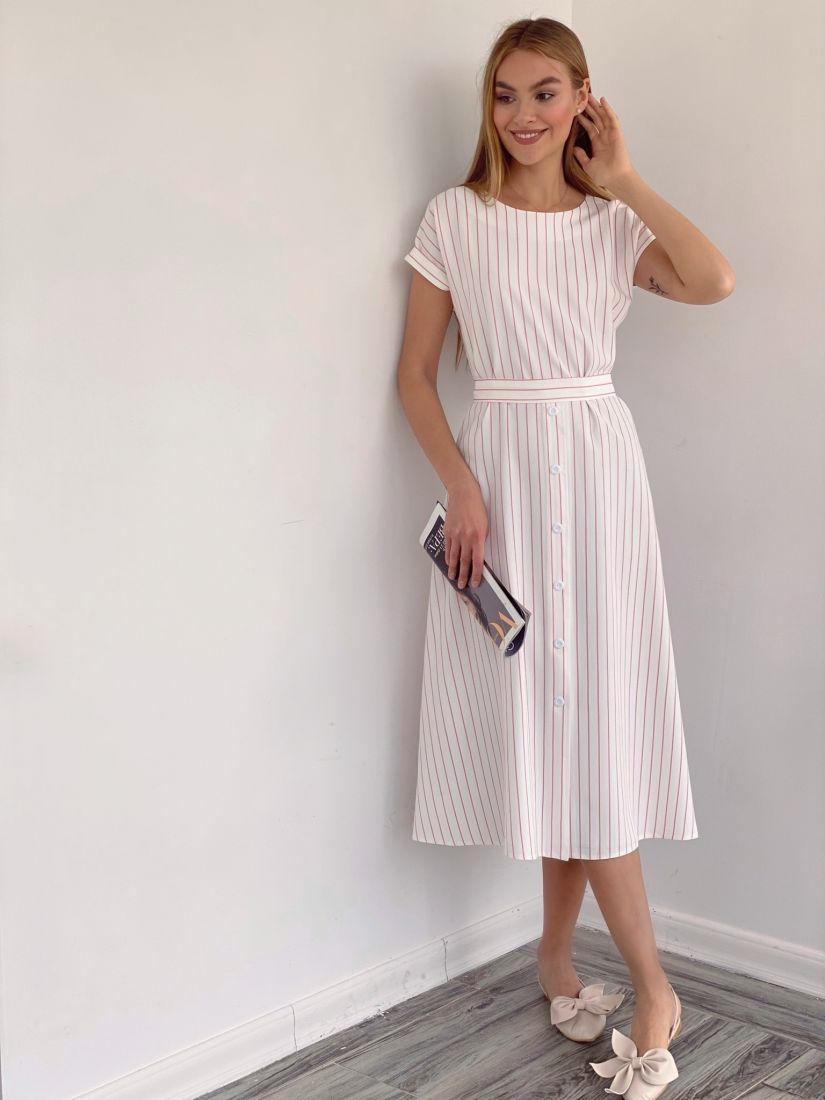 4151 Платье из белого хлопка в тонкую красную полоску