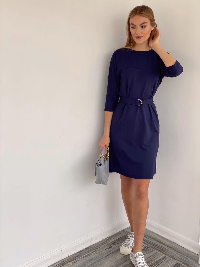 3203 Платье из плотного трикотажа тёмно-синее
