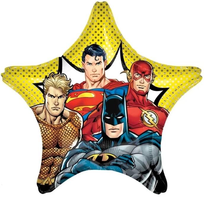 Супергерои Лига справедливости звезда шар фольгированный большой с гелием
