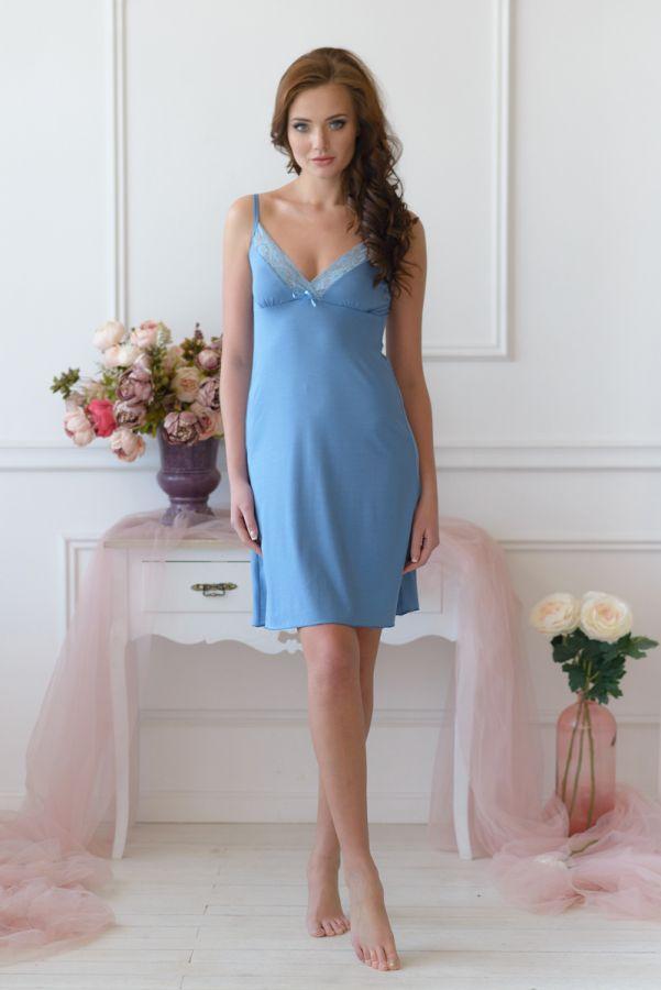 Ночная сорочка арт.0056 серо-голубая, вискоза