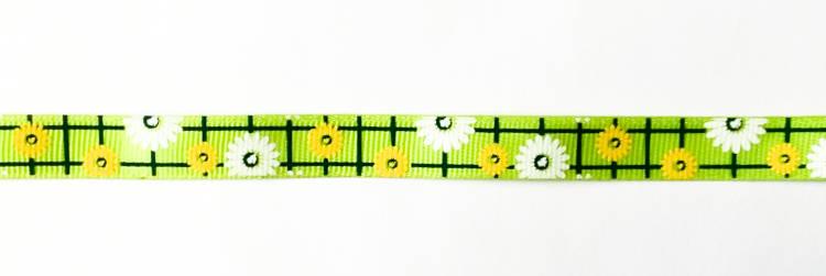 Лента репсовая (в рубчик) 12 мм с рисунком Ромашки на салатовом (LD-003.13)