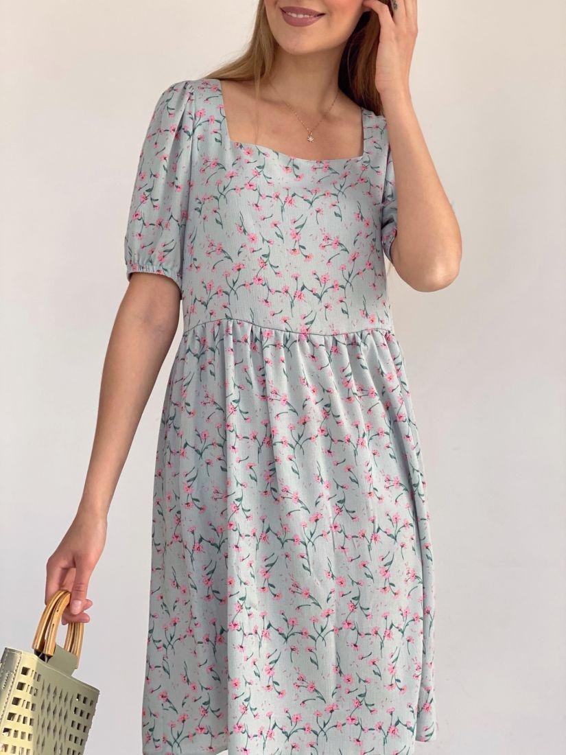 4162 Платье с квадратным декольте фисташковое с цветочками