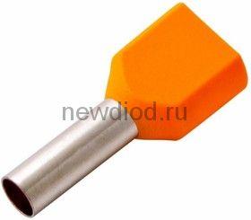Наконечник штыревой втулочный изолированный F-12 мм 2х4 мм² (НШВи(2) 4.0-12/НГи2 4,0-12) оранжевый R