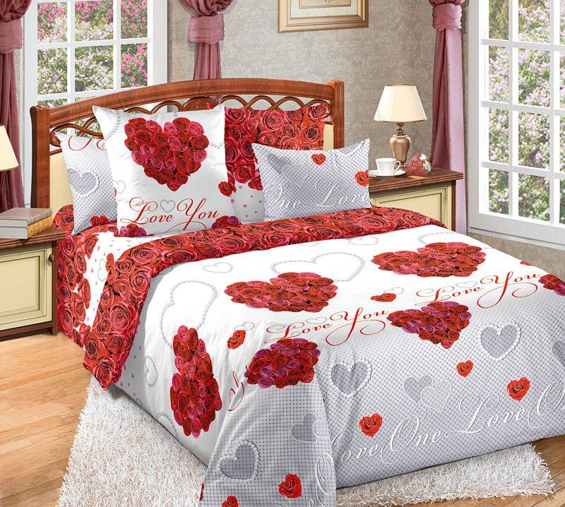 «Вечная любовь 1» постельное белье Бязь 2-х спальный с евро