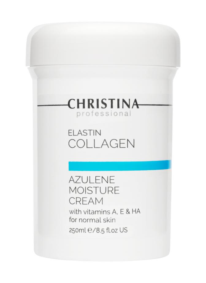Увлажняющий крем c витаминами А, Е и гиалуроновой кислотой для нормальной кожи лица Эластин, коллаген, азулен Christina (Кристина) 250 мл