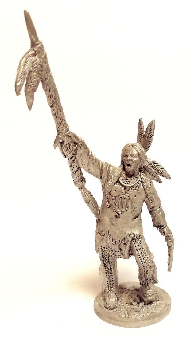 Фигурка Индеец с копьем олово