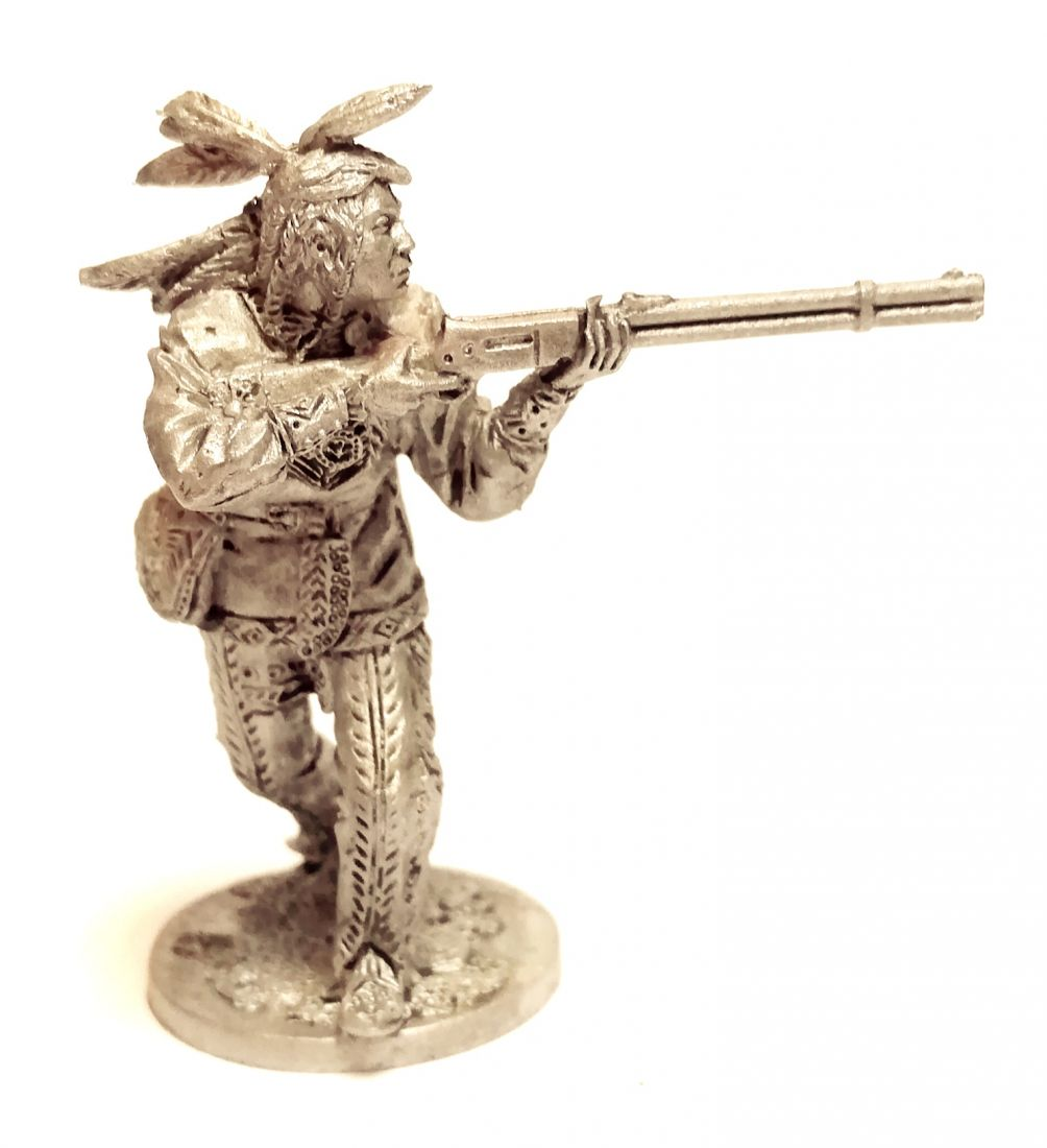 Фигурка Индеец с ружьем и сумкой олово