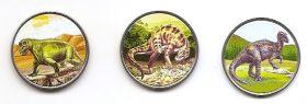 Динозавры 3 рупии Атолл Альдабра 2021 набор 3 монеты