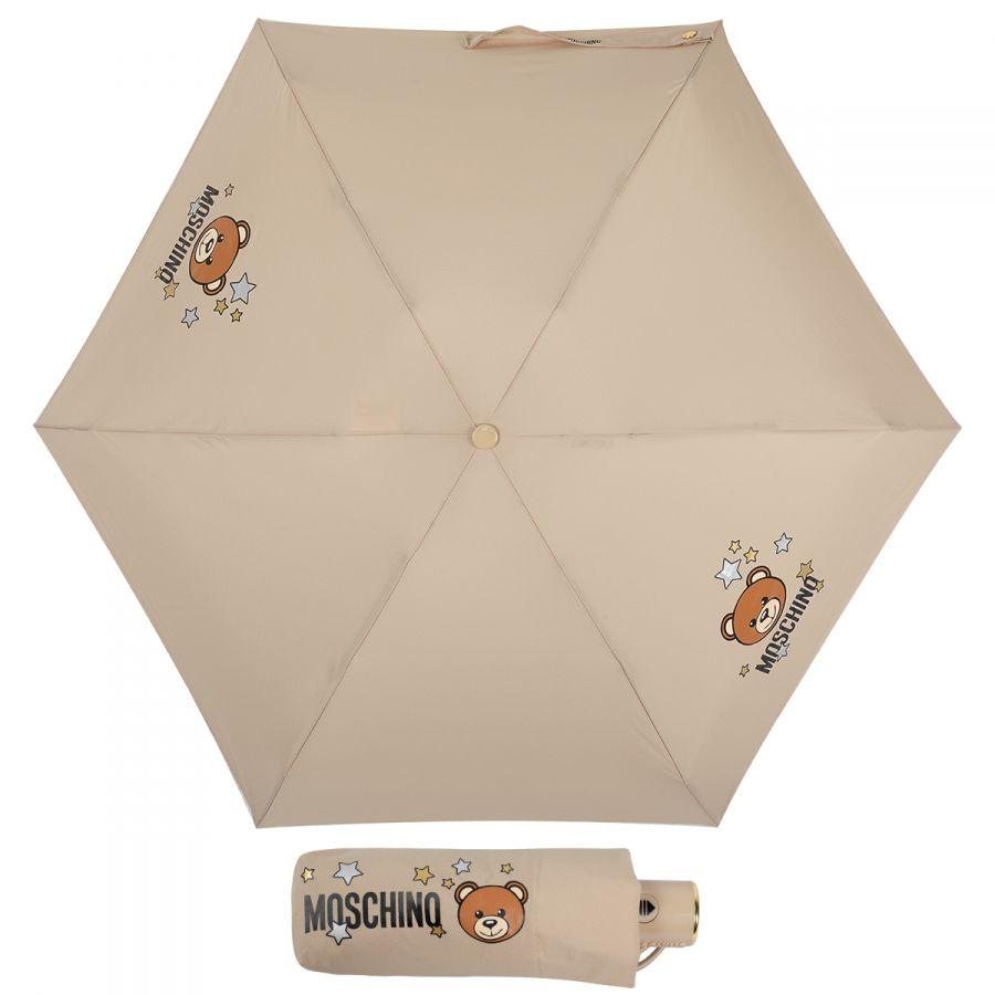 Зонт складной Moschino 8211-compactD Toy Stars Dark beige