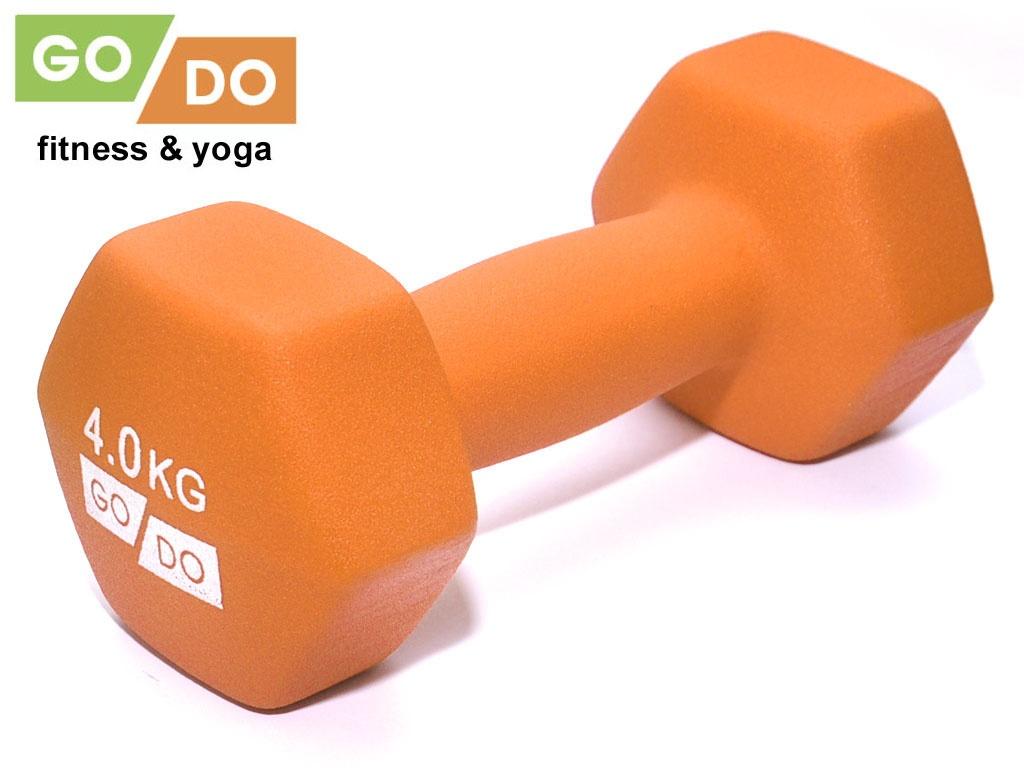 Гантель GO DO в виниловой матовой неопреновой оболочке. Вес 4 кг. (оранжевый)., артикул 31732 (шт.)