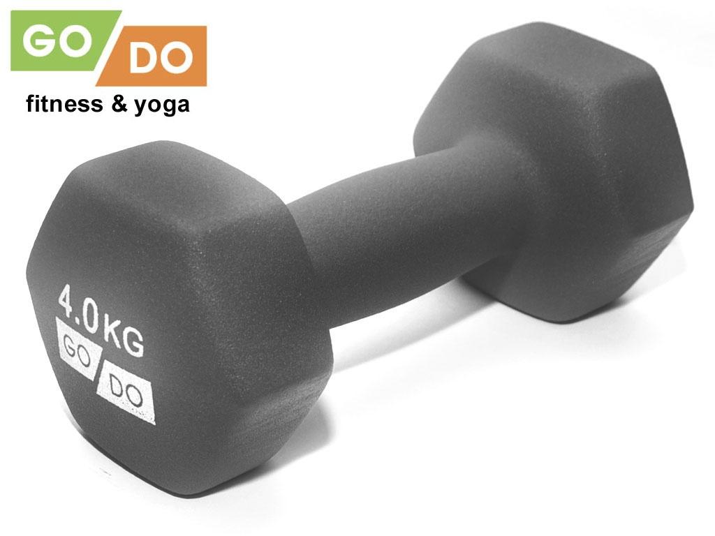 Гантель GO DO в виниловой матовой неопреновой оболочке. Вес 4 кг. (серый)., артикул 31732 (шт.)