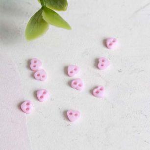 Набор микро пуговиц для творчества - Розовые сердечки, 10 шт., 4 мм.