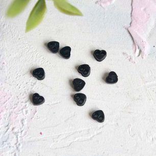 Набор микро пуговиц для творчества - Черные сердечки, 10 шт., 4 мм.