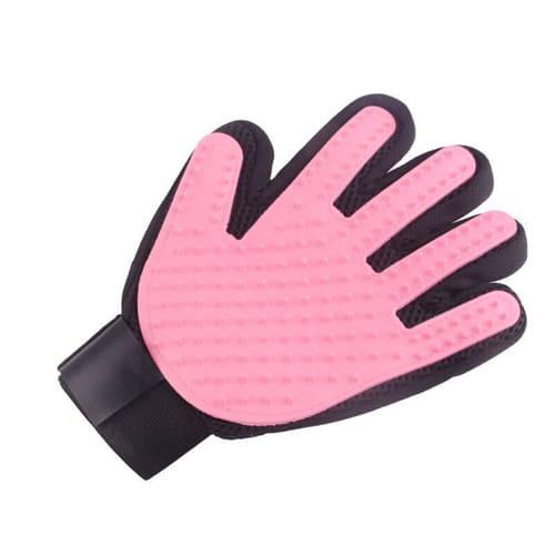 Перчатка для вычёсывания шерсти True Touch, цвет - розовый.