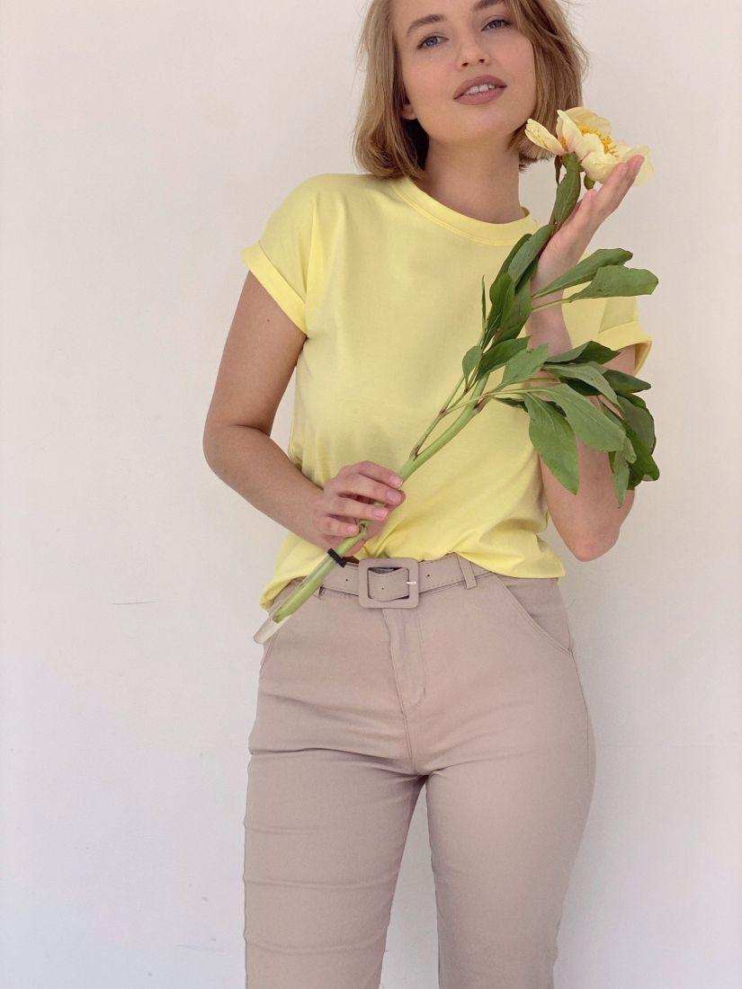 """4189 Базовая футболка с цельнокроенным рукавом в цвете """"лимон"""""""