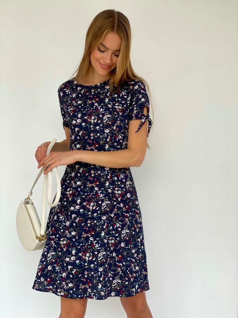4190 Милое платье с завязками на рукавах тёмно-синее