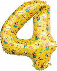 Шар (34''/86 см) Цифра, 4 Три Кота, Желтый, 1 шт. в упак.