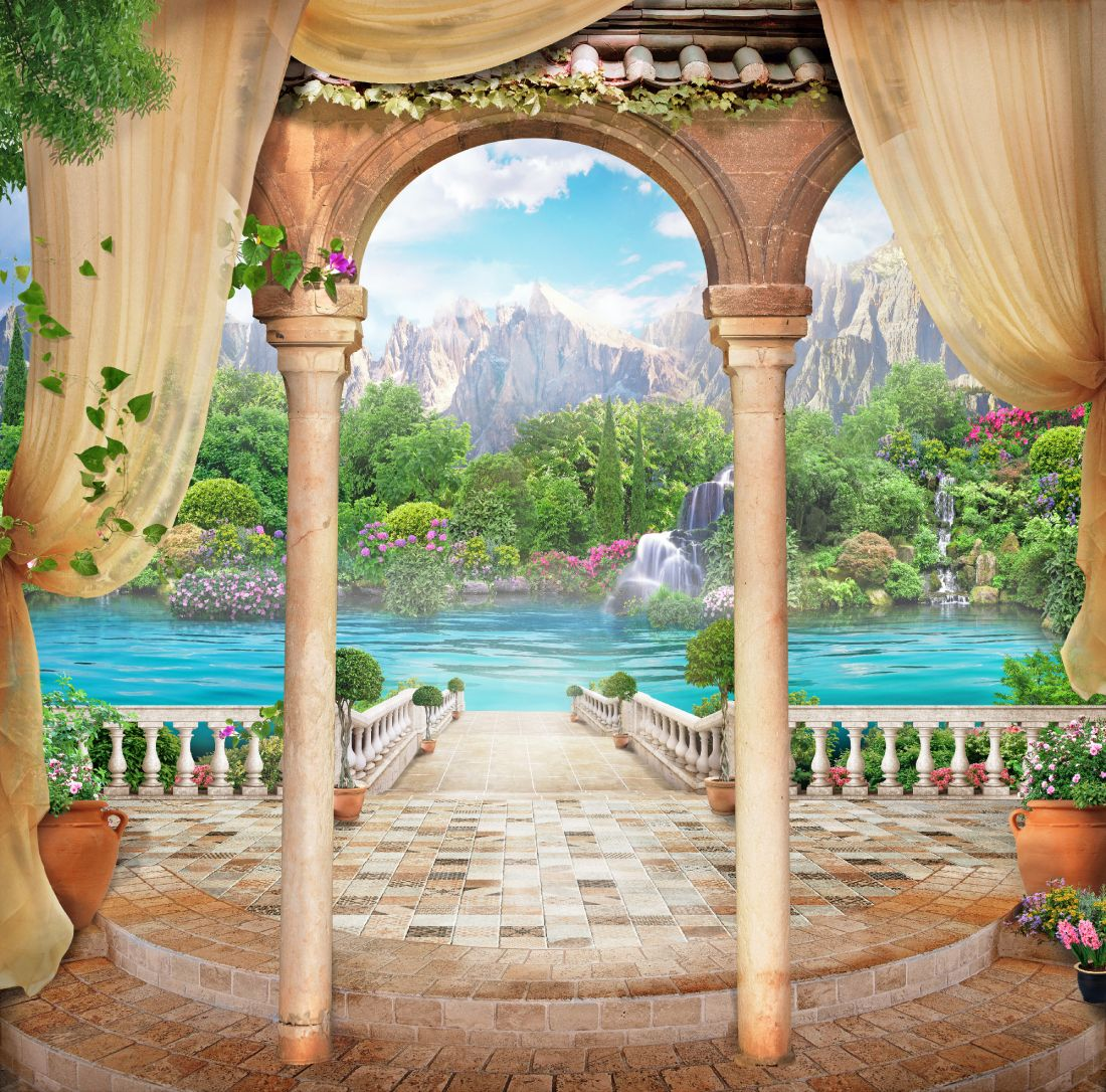 Балкон с видом на озеро и горы 14-93
