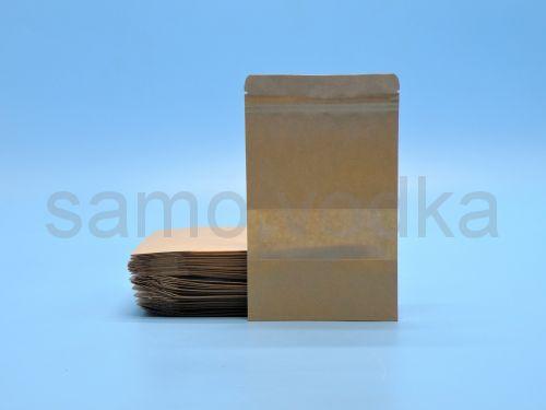 Крафт пакет с зип лок замком 12 х 20 окно 4 см
