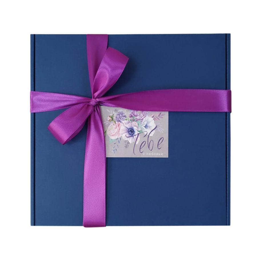 Коробка подарочная, коробка для подарка цвет темно синий 220*220*60 мм с наполнителем тишью и атласной лентой.