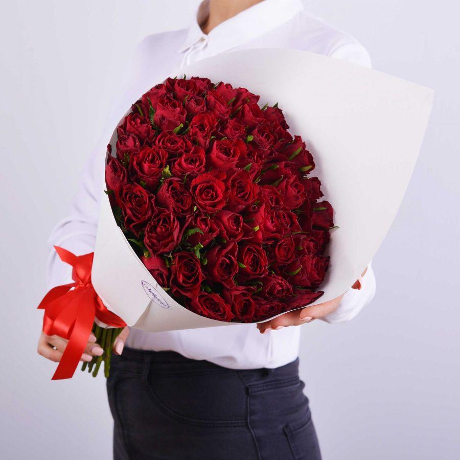 Букет дня! 51 роза красная в упаковке