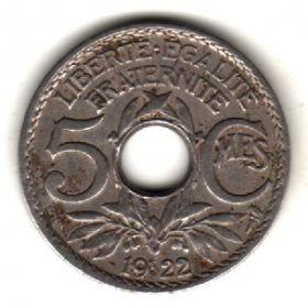 Франция 5 сантимов 1922 tb