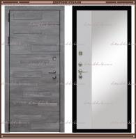 Входная дверь Грея Зеркало Дуб Шале серебро / Белый матовый 90 мм Россия :