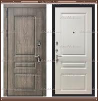 Входная дверь Сенатор ФЛ-636 GREY OAK + чёрная патина / Белый матовый 90 мм Россия :