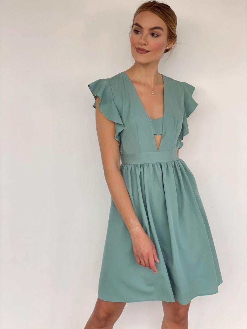4225 Платье с крылышками фисташковое
