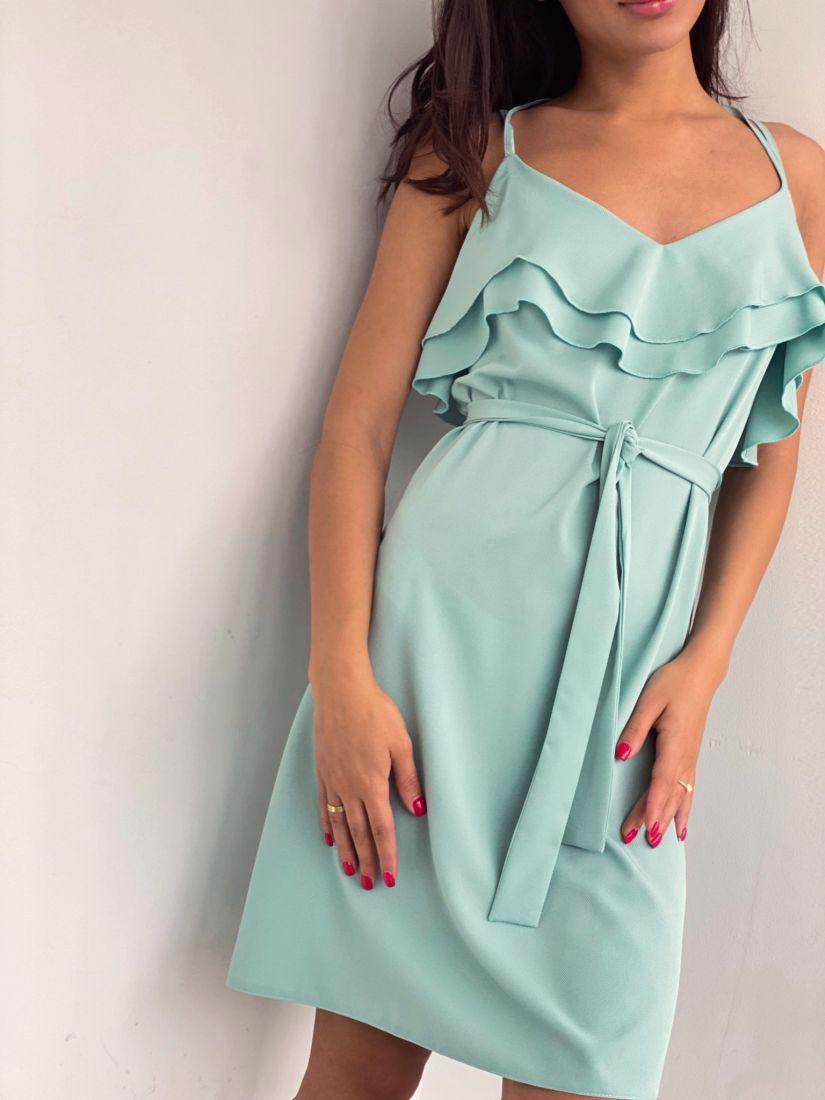 4238 Платье на тонких бретелях фисташковое