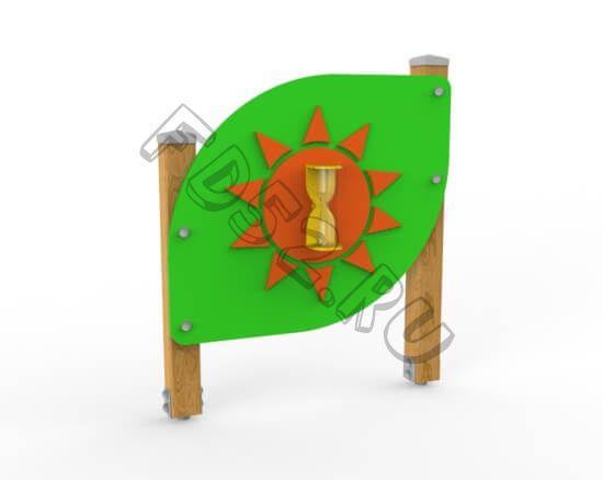 Игровой стенд «Песочные часы» Листок. (Стойки из бруса) 330.04