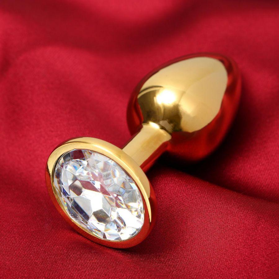 Анальная втулка, золотая, с прозрачным кристаллом, D = 27 мм