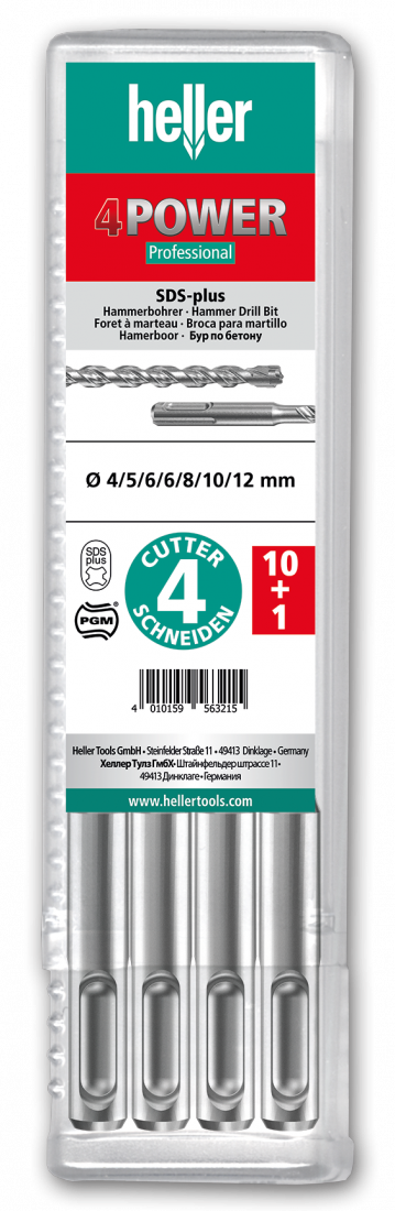 Бур по арматуре SDS-plus Heller 4POWER 10х100х160мм, 11 шт (TD29197)