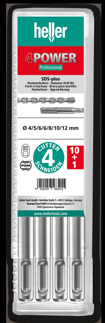 Бур по арматуре SDS-plus Heller 4POWER 8х100х160мм, 11 шт (TD29196)