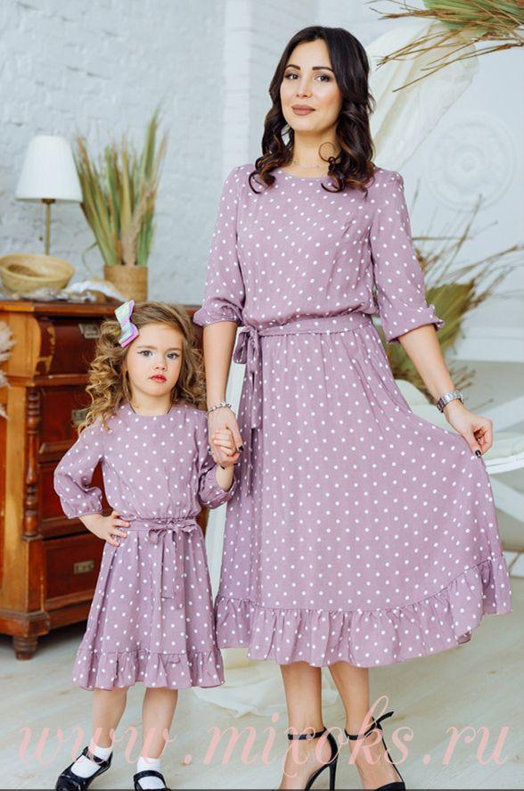 Платья летние в горох из хлопка для мамы и дочки